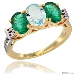 10K Yellow Gold Natural Aquamarine & Emerald Sides Ring 3-Stone Oval 7x5 mm Diamond Accent