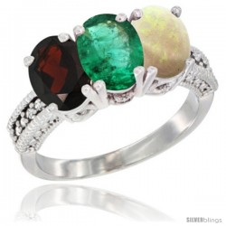 14K White Gold Natural Garnet, Emerald & Opal Ring 3-Stone 7x5 mm Oval Diamond Accent