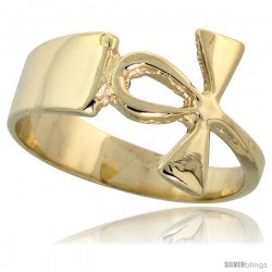 "14k Gold Ankh Cross Ring, 1/2"" (12mm) wide"
