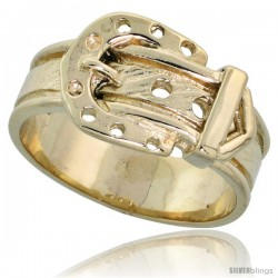 "14k Gold Belt Buckle Ring, 3/8"" (10mm) wide"
