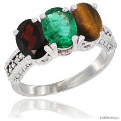 14K White Gold Natural Garnet, Emerald & Tiger Eye Ring 3-Stone 7x5 mm Oval Diamond Accent