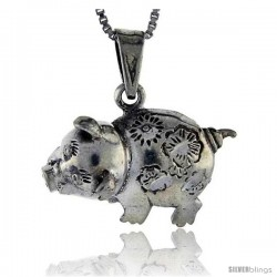 Sterling Silver Pig Pendant, 1 1/8 in tall