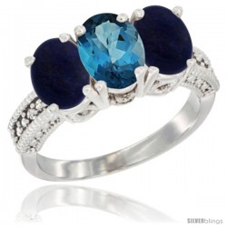 14K White Gold Natural London Blue Topaz Ring with Lapis 3-Stone 7x5 mm Oval Diamond Accent
