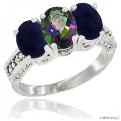 14K White Gold Natural Mystic Topaz Ring with Lapis 3-Stone 7x5 mm Oval Diamond Accent