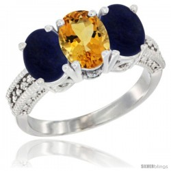 14K White Gold Natural Citrine Ring with Lapis 3-Stone 7x5 mm Oval Diamond Accent