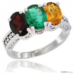 14K White Gold Natural Garnet, Emerald & Whisky Quartz Ring 3-Stone 7x5 mm Oval Diamond Accent