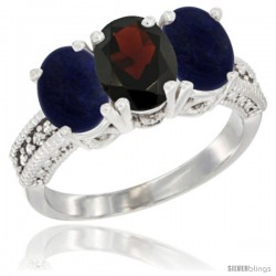 14K White Gold Natural Garnet Ring with Lapis 3-Stone 7x5 mm Oval Diamond Accent