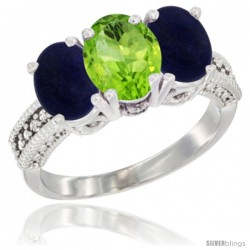 14K White Gold Natural Peridot Ring with Lapis 3-Stone 7x5 mm Oval Diamond Accent