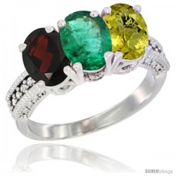 14K White Gold Natural Garnet, Emerald & Lemon Quartz Ring 3-Stone 7x5 mm Oval Diamond Accent