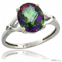 14k White Gold Diamond Mystic Topaz Ring 2.4 ct Oval Stone 10x8 mm, 3/8 in wide