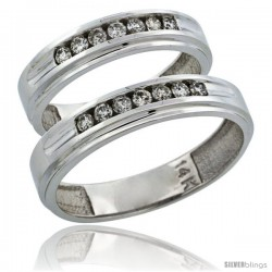 14k White Gold 2-Piece His (5mm) & Hers (5mm) Diamond Wedding Ring Band Set w/ 0.42 Carat Brilliant Cut Diamonds