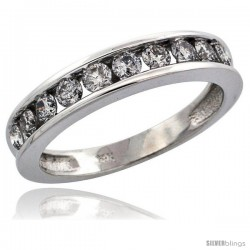14k White Gold 10-Stone Ladies' Diamond Ring Band w/ 0.67 Carat Brilliant Cut Diamonds, 5/32 in. (4mm) wide