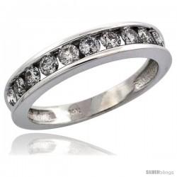 14k White Gold 10-Stone Ladies' Diamond Ring Band w/ 0.67 Carat Brilliant Cut Diamonds, 5/32 in. (4mm) wide