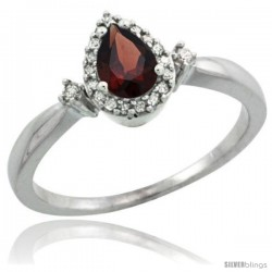 14k White Gold Diamond Garnet Ring 0.33 ct Tear Drop 6x4 Stone 3/8 in wide