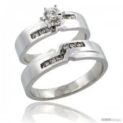 14k White Gold 2-Piece Diamond Ring Band Set w/ Rhodium Accent ( Engagement Ring & Man's Wedding Band ), w/ 0.31 Carat