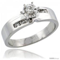 14k White Gold Diamond Engagement Ring w/ 0.18 Carat Brilliant Cut Diamonds, 3/16 in. (5mm) wide