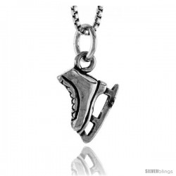 Sterling Silver Ice Skate Shoe Pendant, 1/2 in tall