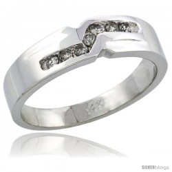 14k White Gold Ladies' Diamond Ring Band w/ 0.13 Carat Brilliant Cut Diamonds, 3/16 in. (5mm) wide