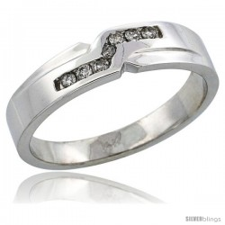 14k White Gold Men's Diamond Ring Band w/ 0.13 Carat Brilliant Cut Diamonds, 3/16 in. (5mm) wide