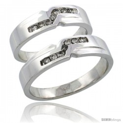 14k White Gold 2-Piece His (5mm) & Hers (5mm) Diamond Wedding Ring Band Set w/ 0.31 Carat Brilliant Cut Diamonds