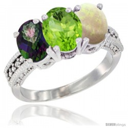 14K White Gold Natural Mystic Topaz, Peridot & Opal Ring 3-Stone 7x5 mm Oval Diamond Accent