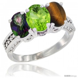 14K White Gold Natural Mystic Topaz, Peridot & Tiger Eye Ring 3-Stone 7x5 mm Oval Diamond Accent