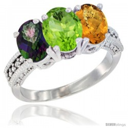 14K White Gold Natural Mystic Topaz, Peridot & Whisky Quartz Ring 3-Stone 7x5 mm Oval Diamond Accent
