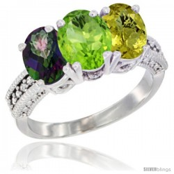 14K White Gold Natural Mystic Topaz, Peridot & Lemon Quartz Ring 3-Stone 7x5 mm Oval Diamond Accent