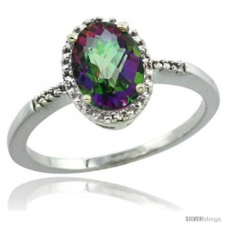 14k White Gold Diamond Mystic Topaz Ring 1.17 ct Oval Stone 8x6 mm, 3/8 in wide