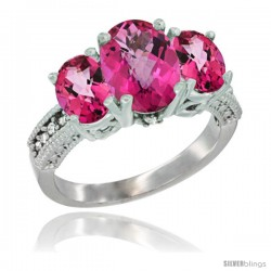 10K White Gold Ladies Natural Pink Topaz Oval 3 Stone Ring Diamond Accent