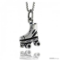 Sterling Silver Roller Skate Shoe Pendant, 1/2 in tall