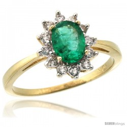 10k Yellow Gold Diamond Halo Emerald Ring 0.85 ct Oval Stone 7x5 mm, 1/2 in wide