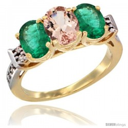 10K Yellow Gold Natural Morganite & Emerald Sides Ring 3-Stone Oval 7x5 mm Diamond Accent