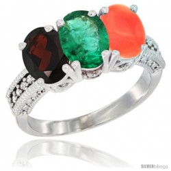 14K White Gold Natural Garnet, Emerald & Coral Ring 3-Stone 7x5 mm Oval Diamond Accent