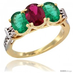 10K Yellow Gold Natural Ruby & Emerald Sides Ring 3-Stone Oval 7x5 mm Diamond Accent