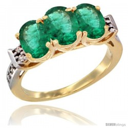10K Yellow Gold Natural Emerald Ring 3-Stone Oval 7x5 mm Diamond Accent