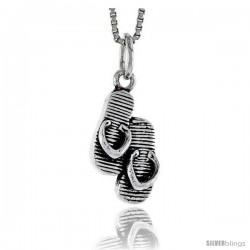 Sterling Silver Flip Flop Pendant, 3/4 in tall -Style Pa1628