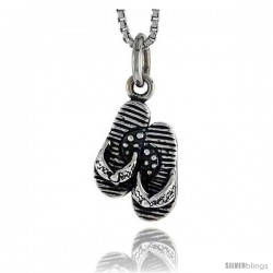 Sterling Silver Flip Flop Pendant, 1/2 in tall