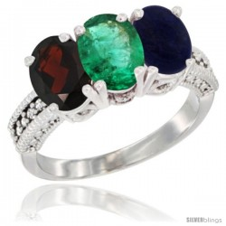 14K White Gold Natural Garnet, Emerald & Lapis Ring 3-Stone 7x5 mm Oval Diamond Accent