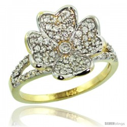 14k Gold Clover Flower Diamond Ring w/ 0.61 Carat Brilliant Cut ( H-I Color SI1 Clarity ) Diamonds, 9/16 in. (14.5mm) wide