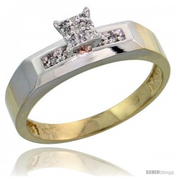 10k Yellow Gold Diamond Engagement Ring 0.07 cttw Brilliant Cut, 3/16 in wide -Style 10y009er