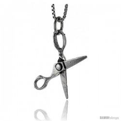 Sterling Silver Scissors Pendant, 7/8 in tall