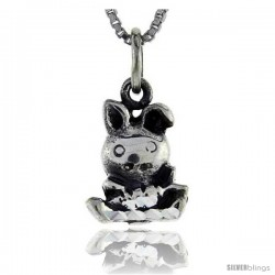 Sterling Silver Rabbit Pendant, 3/4 in tall