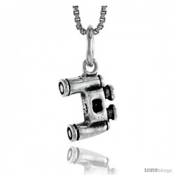 Sterling Silver Binoculars Pendant, 1/2 in tall