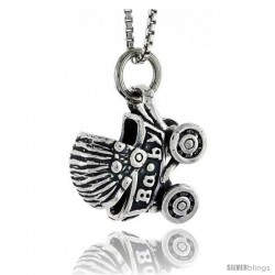 Sterling Silver Baby Carriage Stroller Pendant, 5/8 in tall