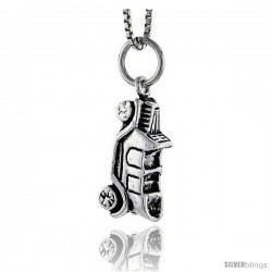 Sterling Silver Convertible Car Pendant, 3/4 in tall
