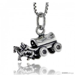 Sterling Silver Horse Drawn Carriage Pendant, 5/16 in tall