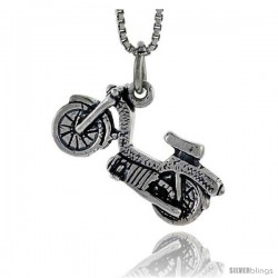 Sterling Silver Lightweight Motorcycle Pendant, 3/8 in tall