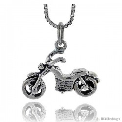Sterling Silver Lightweight Motorcycle Pendant, 1/2 in tall
