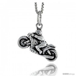Sterling Silver Motorcycle Pendant, 1/2 in tall